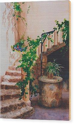 Charming California Courtyard Wood Print by Eve Riser Roberts