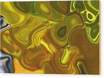 Wood Print featuring the digital art Chartreuse Series Abstract Xii by Ginny Schmidt