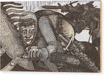 Chased By Brigands Wood Print by Al Goldfarb