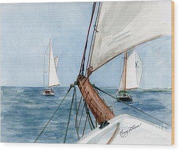 Wood Print featuring the painting Chasing The North Wind by Nancy Patterson