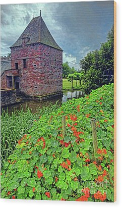 Wood Print featuring the photograph Chateau Tower And Nasturtiums by Dave Mills