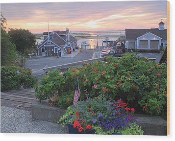 Chatham Fish Pier Summer Flowers Cape Cod Wood Print
