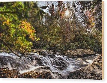 Chauga Narrows Waterfall Wood Print by Brent Craft