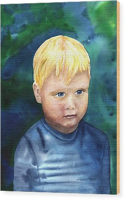 Wood Print featuring the painting Chayton by Sharon Mick