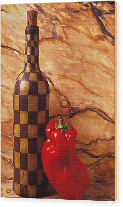 Checker Wine Bottle And Red Pepper Wood Print by Garry Gay