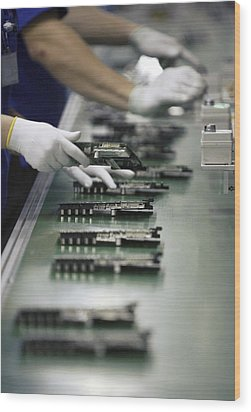 Checking Tv Circuit Board Components Wood Print by Ria Novosti