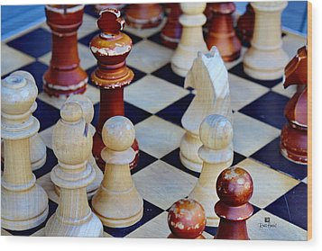 Checkmate Wood Print by Russ Harris