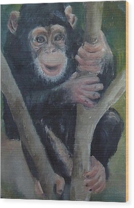 Wood Print featuring the painting Cheeky Monkey by Jessmyne Stephenson