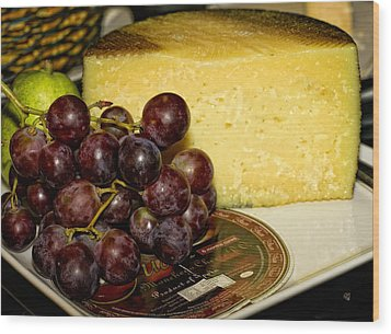 Cheese And Grapes Wood Print by Barbara Middleton