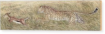 Cheetah And Gazelle Fawn Wood Print by Tim McCarthy