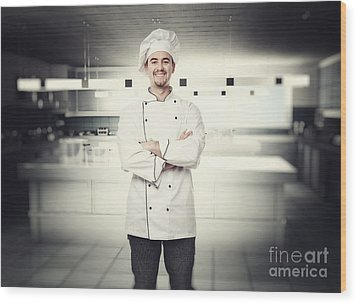 Chef Portrait Wood Print by Gualtiero Boffi