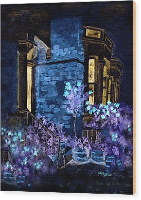 Wood Print featuring the painting Chelsea Row At Night by Paula Ayers