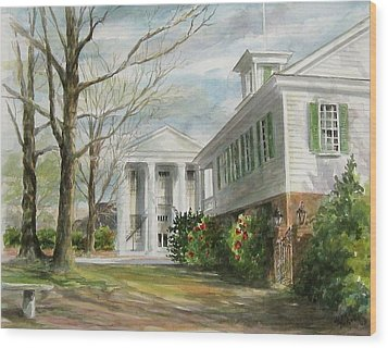 Wood Print featuring the painting Cheraw Town Hall by Gloria Turner