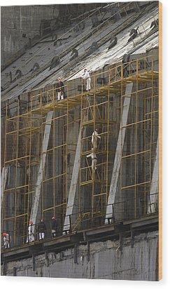 Chernobyl Sarcophagus Repairs, 2006 Wood Print by Ria Novosti