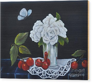 Wood Print featuring the painting Cherries And Roses by Carol Sweetwood