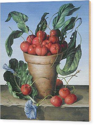 Cherries In Terracotta With Blue Flower Wood Print by Amelia Kleiser