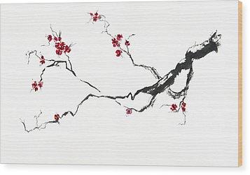 Cherry Blossom Wood Print by Jitka Krause