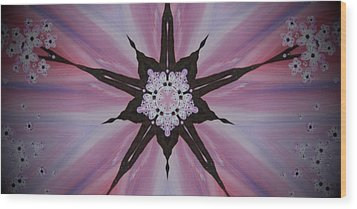 Cherry Blossom Kaleidoscope 2 Wood Print by Heather  Hubb