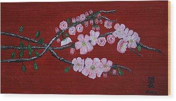 Cherry Blossom Trio Wood Print by Lorraine Adams