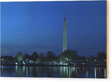 Cherry Blossoms Sunset At The Washington Monument Wood Print by Metro DC Photography