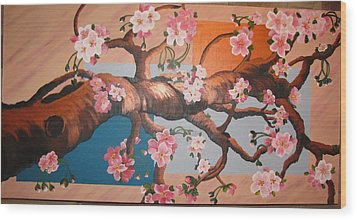 Cherry Blossoms Wood Print by Sylvia Wanty