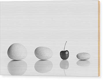 Cherry Stones Wood Print by Todor Vassilev