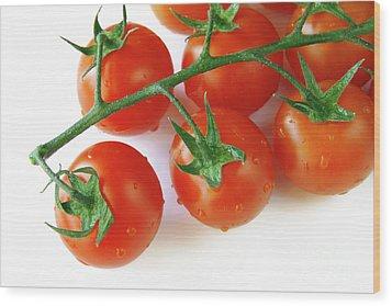 Cherry Tomatoes Wood Print by Carlos Caetano