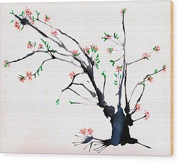 Cherry Tree By Straw Wood Print by Helaine Cummins