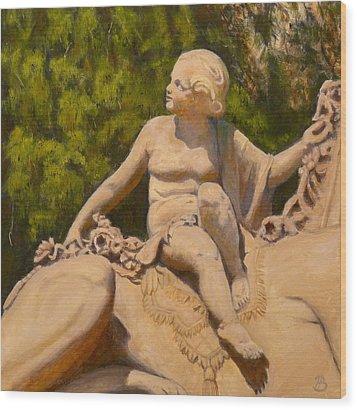 Wood Print featuring the painting Cherub Monmouth University by Joe Bergholm