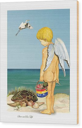 Wood Print featuring the painting Cherub Saving Turtle by Anne Beverley-Stamps