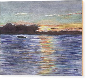 Wood Print featuring the painting Chesapeake Dusk Boat Ride by Clara Sue Beym