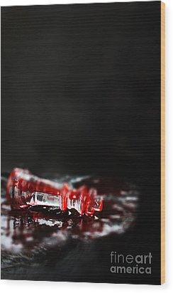 Chess Piece Lying In Blood Wood Print by Stephanie Frey