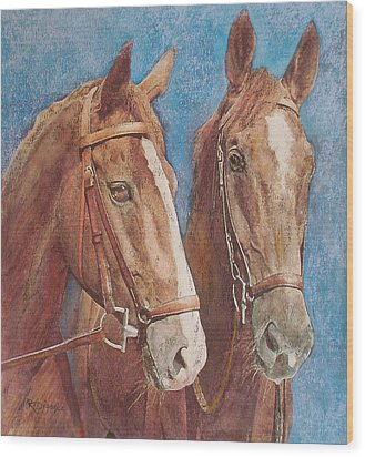 Wood Print featuring the painting Chestnut Pals by Richard James Digance