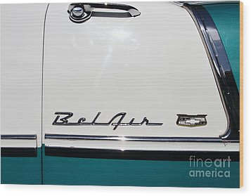 Chevrolet Bel-air . Blue . 7d12849 Wood Print by Wingsdomain Art and Photography