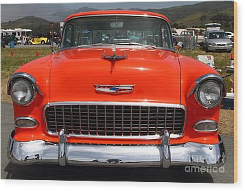 Chevrolet Bel-air Stationwagon . Orange . 7d15270 Wood Print by Wingsdomain Art and Photography