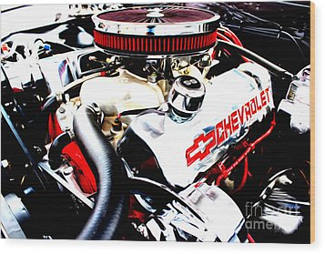 Wood Print featuring the digital art Chevy Power Plant by Tony Cooper