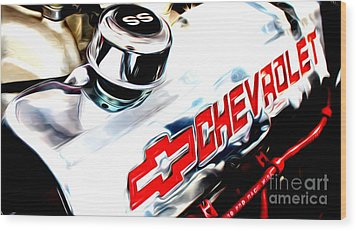Wood Print featuring the digital art Chevy Power by Tony Cooper