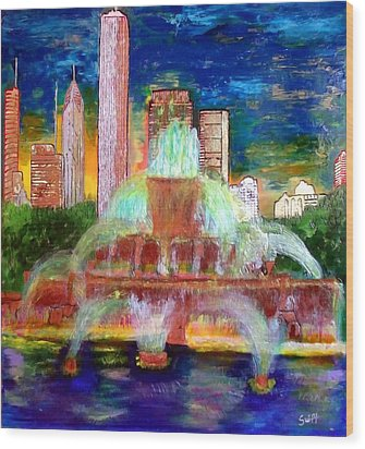 Chicacgo Buckingham Fountain Wood Print by Char Swift