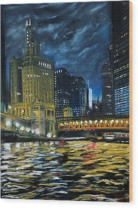 Chicago At Night Wood Print by Peter Jackson