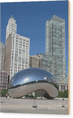 Chicago Bean Wood Print by Wendy Jackson