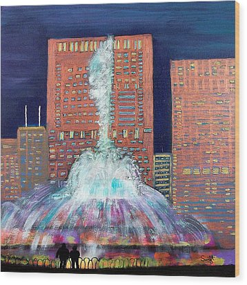 Chicago Buckingham Fountain At Night Wood Print by Char Swift
