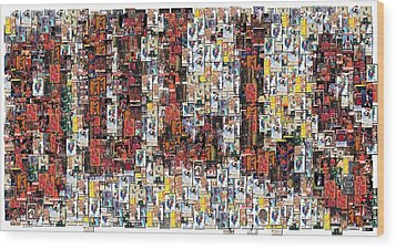 Chicago Bulls Michael Jordan Cards Mosaic Wood Print by Paul Van Scott