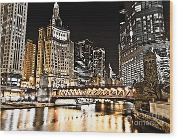 Chicago City At Night Wood Print by Paul Velgos