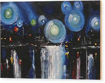 Chicago City Lights Wood Print by Skye Taylor