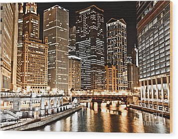 Chicago City Skyline At Night Wood Print by Paul Velgos