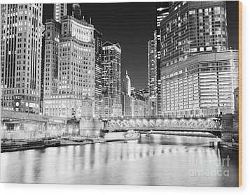Chicago Cityscape At Night At Dusable Bridge Wood Print by Paul Velgos