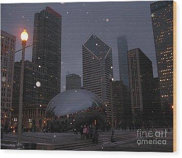 Chicago Cloud Gate At Night Wood Print by Ausra Huntington nee Paulauskaite