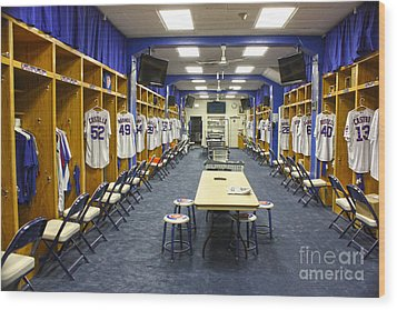 Chicago Cubs Dressing Room Wood Print by David Bearden