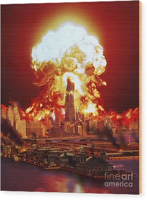 Chicago Disintegrates As A Nuclear Wood Print by Ron Miller