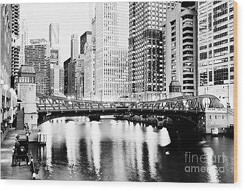 Chicago Downtown At Clark Street Bridge Wood Print by Paul Velgos